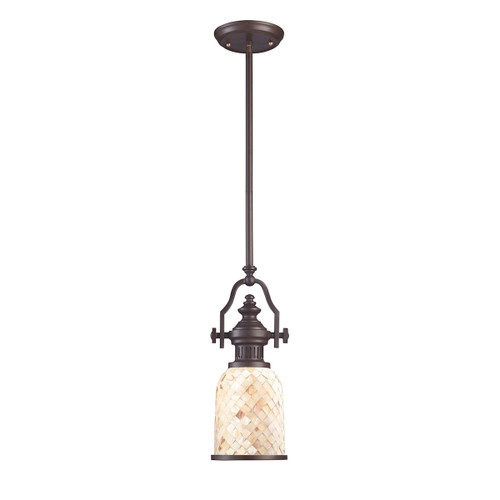 ELK Lighting 66432-1 Chadwick 1-Light Mini Pendant in Oiled Bronze with Cappa Shell Shade