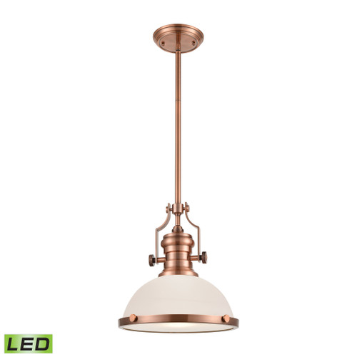 ELK Lighting 66143-1-LED Chadwick 1-Light Pendant in Antique Copper with White Glass - Includes LED Bulb