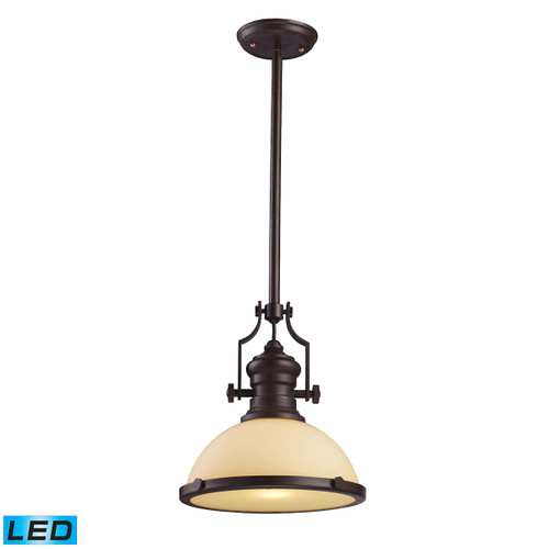 ELK Lighting 66133-1-LED Chadwick 1-Light Pendant in Oiled Bronze with Off-white Glass - Includes LED Bulb
