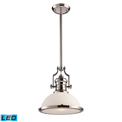 ELK Lighting 66113-1-LED Chadwick 1-Light Pendant in Polished Nickel with White Glass - Includes LED Bulb