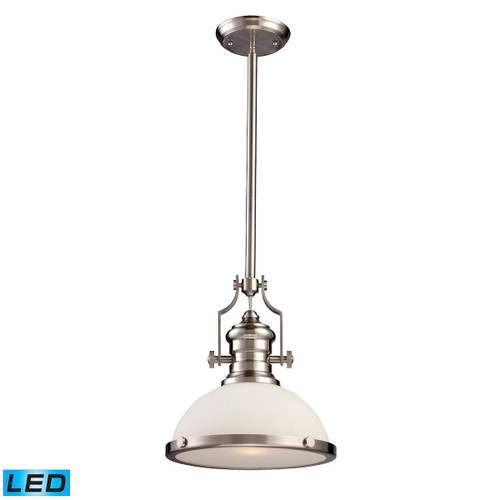 ELK Lighting 66123-1-LED Chadwick 1-Light Pendant in Satin Nickel with White Glass - Includes LED Bulb
