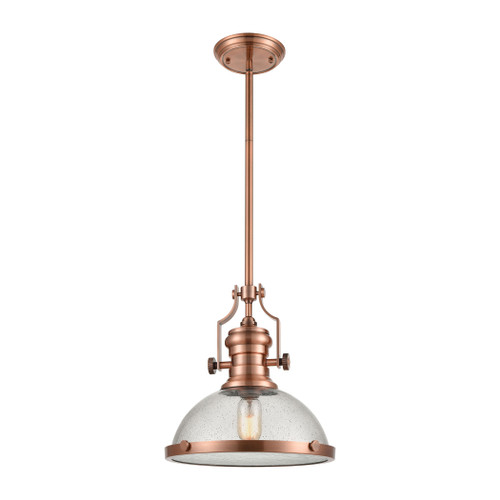 ELK Lighting 67743-1 Chadwick 1-Light Pendant in Copper with Seedy Glass