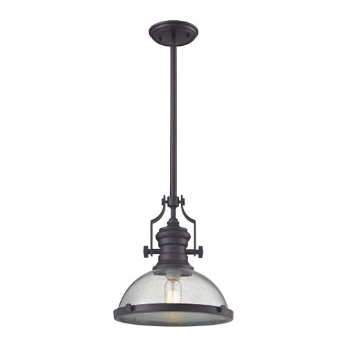 ELK Lighting 67733-1 Chadwick 1-Light Pendant in Oil Rubbed Bronze with Seedy Glass