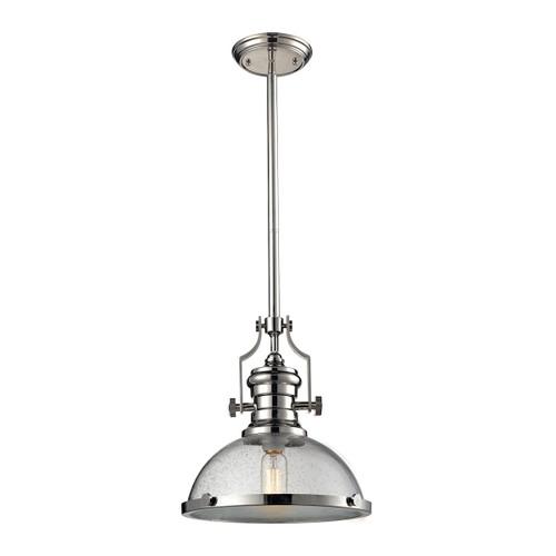 ELK Lighting 67713-1 Chadwick 1-Light Pendant in Polished Nickel with Seedy Glass
