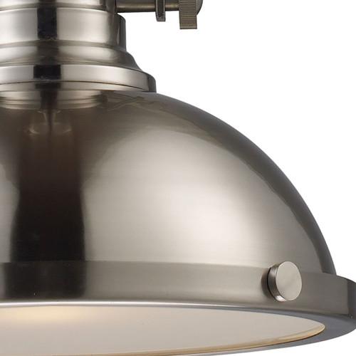 ELK Lighting 66124-1 Chadwick 1-Light Pendant in Satin Nickel with Matching Shade
