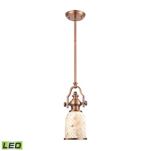 ELK Lighting 66442-1-LED Chadwick 1-Light Mini Pendant in Antique Copper with Cappa Shell Shade - Includes LED Bulb