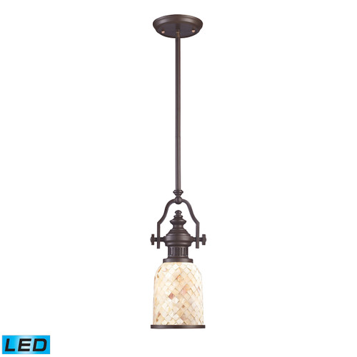 ELK Lighting 66432-1-LED Chadwick 1-Light Mini Pendant in Oiled Bronze with Cappa Shell Shade - Includes LED Bulb
