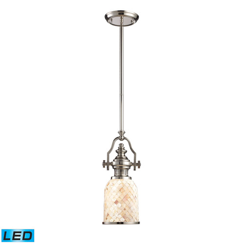 ELK Lighting 66412-1-LED Chadwick 1-Light Mini Pendant in Polished Nickel with Cappa Shell Shade - Includes LED Bulb