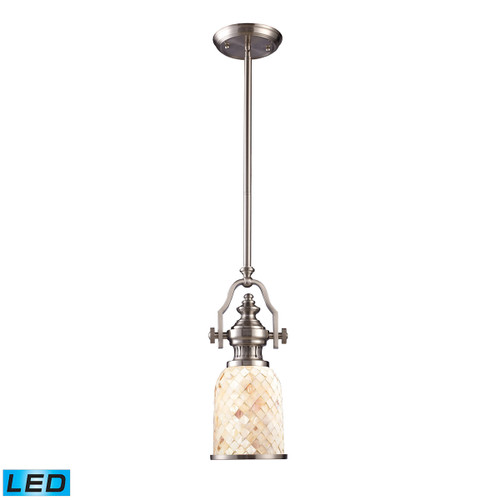 ELK Lighting 66422-1-LED Chadwick 1-Light Mini Pendant in Satin Nickel with Cappa Shell Shade - Includes LED Bulb