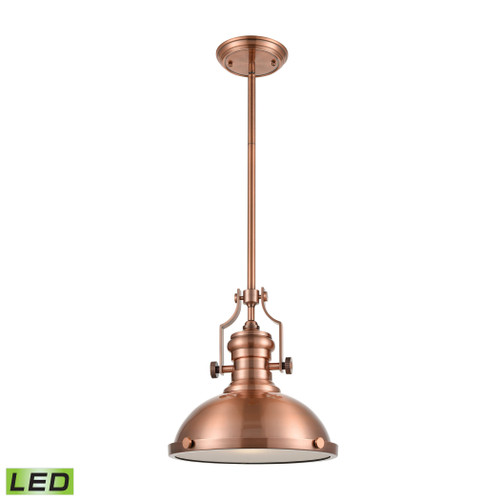 ELK Lighting 66144-1-LED Chadwick 1-Light Pendant in Antique Copper with Matching Shade - Includes LED Bulb