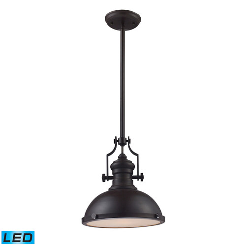ELK Lighting 66134-1-LED Chadwick 1-Light Pendant in Oiled Bronze with Matching Shade - Includes LED Bulb