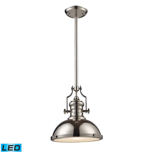 ELK Lighting 66114-1-LED Chadwick 1-Light Pendant in Polished Nickel with Matching Shade - Includes LED Bulb