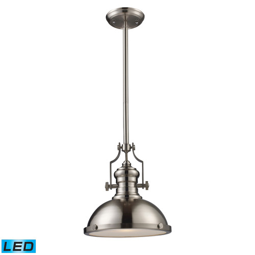 ELK Lighting 66124-1-LED Chadwick 1-Light Pendant in Satin Nickel with Matching Shade - Includes LED Bulb