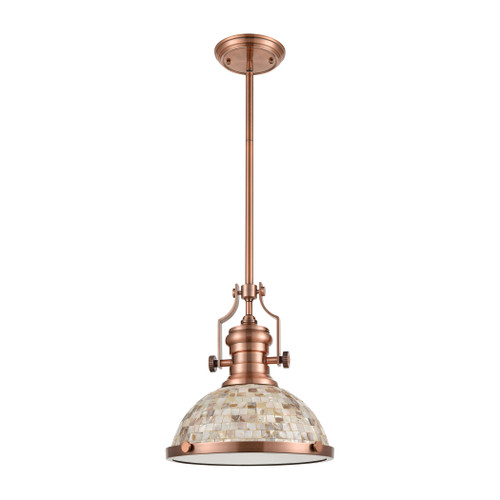 ELK Lighting 66443-1 Chadwick 1-Light Pendant in Antique Copper with Cappa Shell Shade