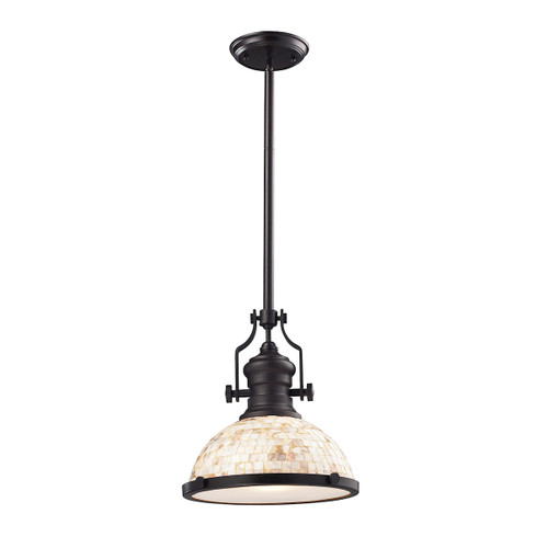 ELK Lighting 66433-1 Chadwick 1-Light Pendant in Oiled Bronze with Cappa Shell Shade