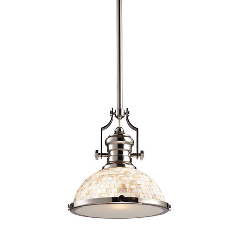ELK Lighting 66413-1 Chadwick 1-Light Pendant in Polished Nickel with Cappa Shell Shade