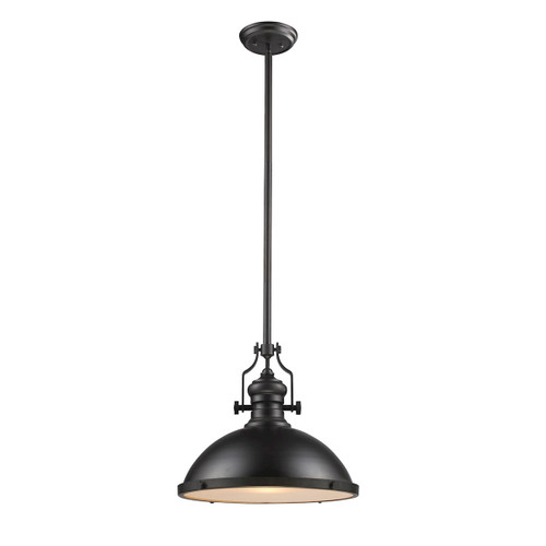 ELK Lighting 66138-1 Chadwick 1-Light Pendant in Oiled Bronze with Matching Shade