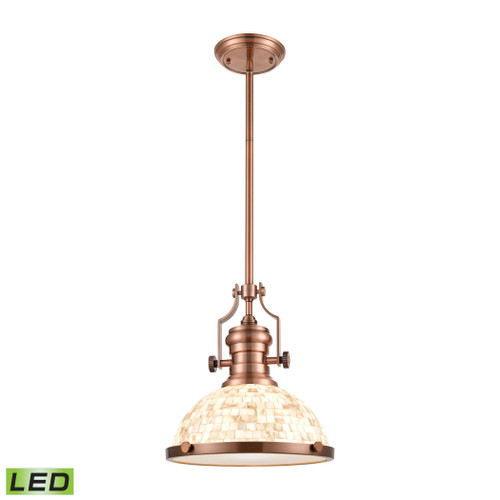 ELK Lighting 66443-1-LED Chadwick 1-Light Pendant in Antique Copper with Cappa Shell Shade - Includes LED Bulb