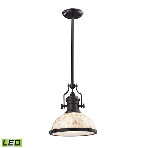 ELK Lighting 66433-1-LED Chadwick 1-Light Pendant in Oiled Bronze with Cappa Shell Shade - Includes LED Bulb
