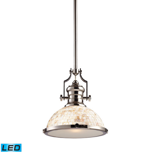 ELK Lighting 66413-1-LED Chadwick 1-Light Pendant in Polished Nickel with Cappa Shell Shade - Includes LED Bulb