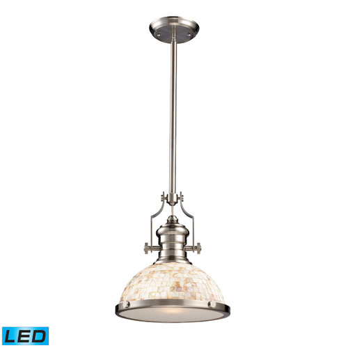 ELK Lighting 66423-1-LED Chadwick 1-Light Pendant in Satin Nickel with Cappa Shell Shade - Includes LED Bulb