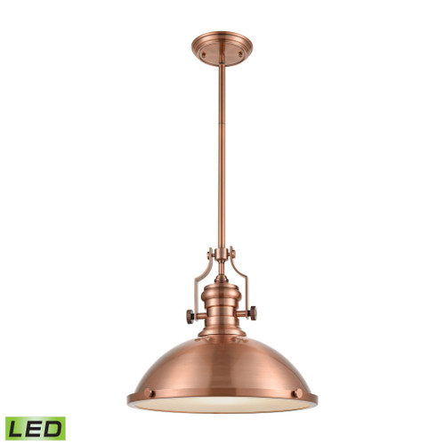 ELK Lighting 66148-1-LED Chadwick 1-Light Pendant in Antique Copper with Matching Shade - Includes LED Bulb