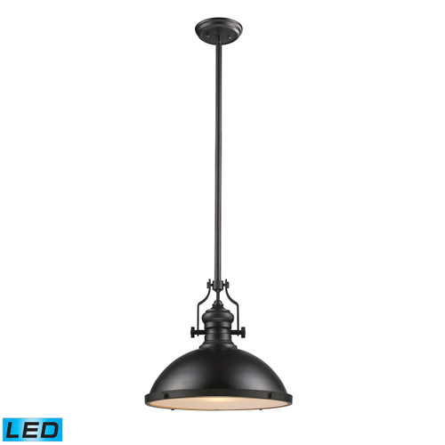 ELK Lighting 66138-1-LED Chadwick 1-Light Pendant in Oiled Bronze with Matching Shade - Includes LED Bulb