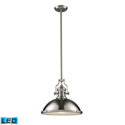 ELK Lighting 66128-1-LED Chadwick 1-Light Pendant in Satin Nickel with Matching Shade - Includes LED Bulb