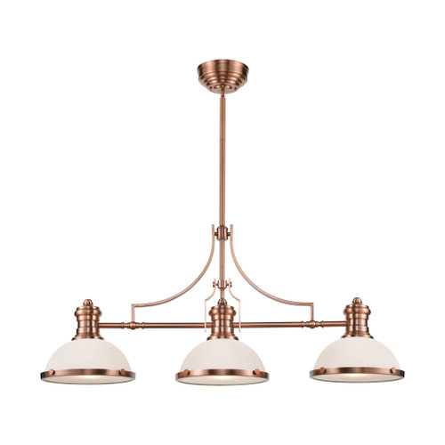 ELK Lighting 66245-3 Chadwick 3-Light Island Light in Antique Copper with White Glass