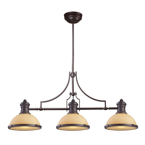 ELK Lighting 66235-3 Chadwick 3-Light Island Light in Oiled Bronze with Off-white Glass