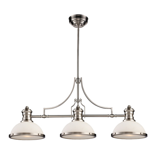 ELK Lighting 66225-3 Chadwick 3-Light Island Light in Satin Nickel with Gloss White Shade