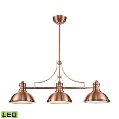 ELK Lighting 66145-3-LED Chadwick 3-Light Island Light in Antique Copper with Matching Shade - Includes LED Bulbs