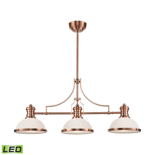 ELK Lighting 66245-3-LED Chadwick 3-Light Island Light in Antique Copper with White Glass - Includes LED Bulbs