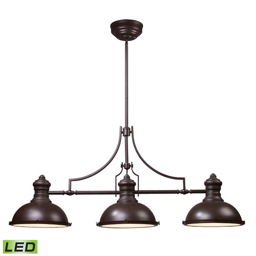 ELK Lighting 66135-3-LED Chadwick 3-Light Island Light in Oiled Bronze with Matching Shade - Includes LED Bulbs