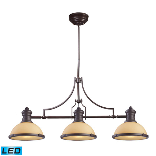 ELK Lighting 66235-3-LED Chadwick 3-Light Island Light in Oiled Bronze with Off-white Glass - Includes LED Bulbs