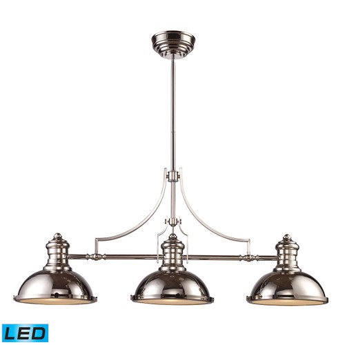 ELK Lighting 66115-3-LED Chadwick 3-Light Island Light in Polished Nickel with Matching Shades - Includes LED Bulbs