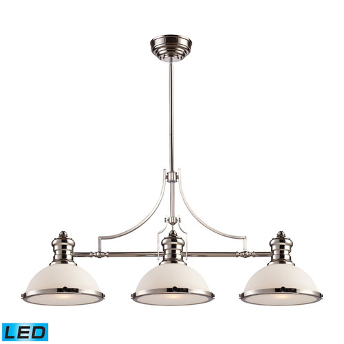 ELK Lighting 66215-3-LED Chadwick 3-Light Island Light in Polished Nickel with Gloss White Shade - Includes LED Bulbs