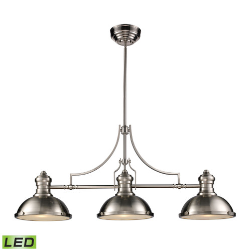 ELK Lighting 66125-3-LED Chadwick 3-Light Island Light in Satin Nickel with Matching Shade - Includes LED Bulbs