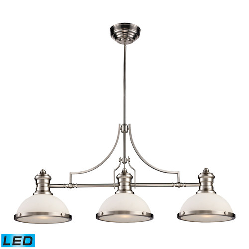 ELK Lighting 66225-3-LED Chadwick 3-Light Island Light in Satin Nickel with Gloss White Shade - Includes LED Bulbs