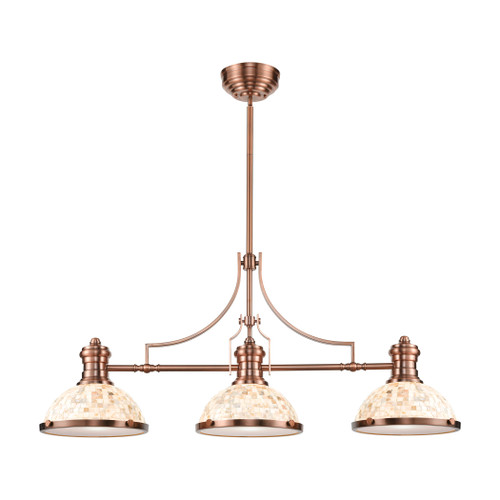 ELK Lighting 66445-3 Chadwick 3-Light Island Light in Antique Copper with Cappa Shell Shade