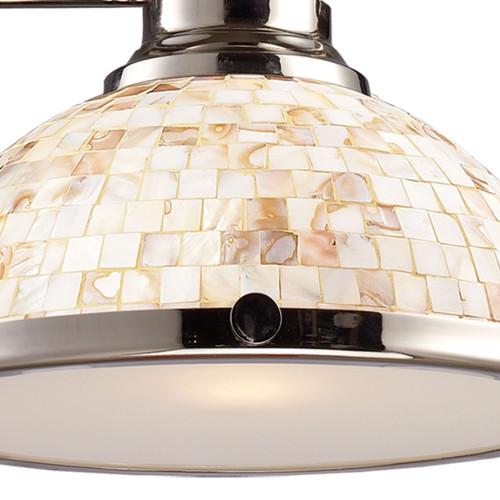 ELK Lighting 66415-3 Chadwick 3-Light Island Light in Polished Nickel with Cappa Shell Shade