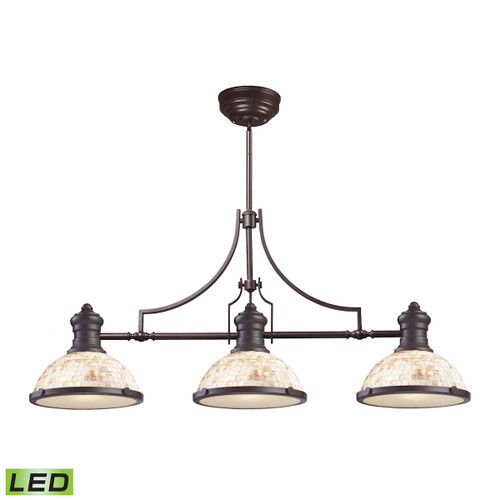 ELK Lighting 66435-3-LED Chadwick 3-Light Island Light in Oiled Bronze with Cappa Shell Shade - Includes LED Bulbs