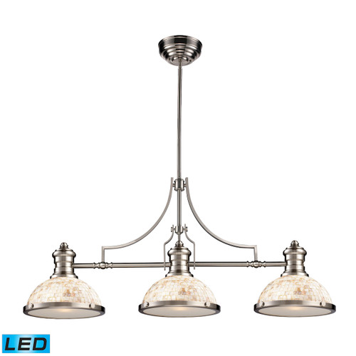 ELK Lighting 66425-3-LED Chadwick 3-Light Island Light in Satin Nickel with Cappa Shell Shade - Includes LED Bulbs