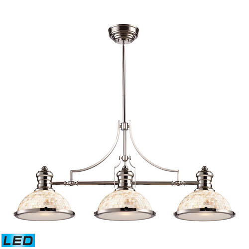 ELK Lighting 66415-3-LED Chadwick 3-Light Island Light in Polished Nickel with Cappa Shell Shade - Includes LED Bulbs