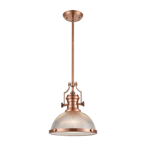 ELK Lighting 66543-1 Chadwick 1-Light Pendant in Antique Copper with Clear Ribbed Glass