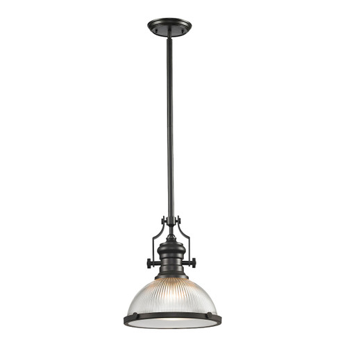 ELK Lighting 66533-1 Chadwick 1-Light Pendant in Oil Rubbed Bronze with Clear Ribbed Glass