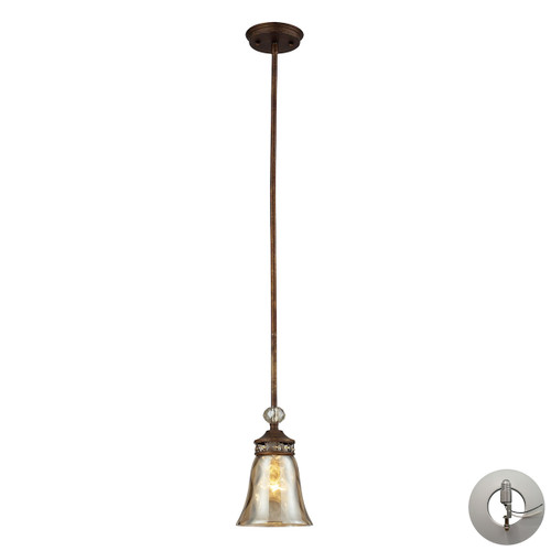 ELK Lighting 46020/1-LA Cheltham 1-Light Mini Pendant in Mocha with Champagne-plated Glass - Includes Adapter Kit