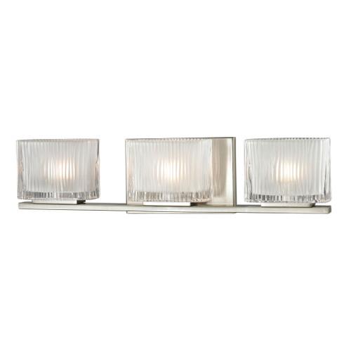 ELK Lighting 11632/3 Chiseled Glass 3-Light Vanity Sconce in Brushed Nickel