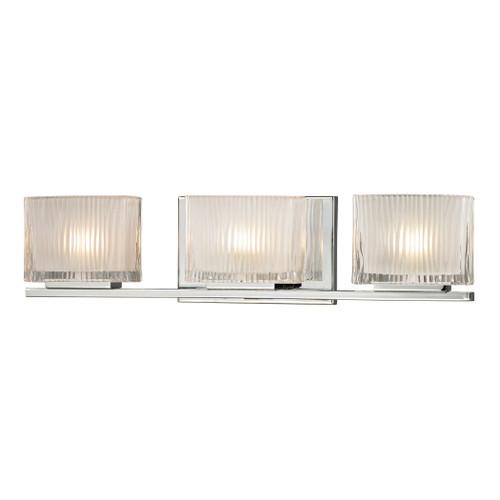 ELK Lighting 11622/3 Chiseled Glass 3-Light Vanity Sconce in Polished Chrome