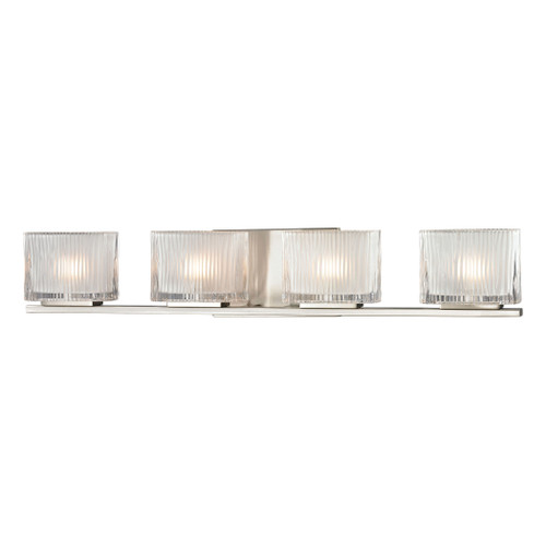 ELK Lighting 11633/4 Chiseled Glass 4-Light Vanity Sconce in Brushed Nickel